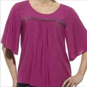 Ariat deep rose blouse with metal detail Small